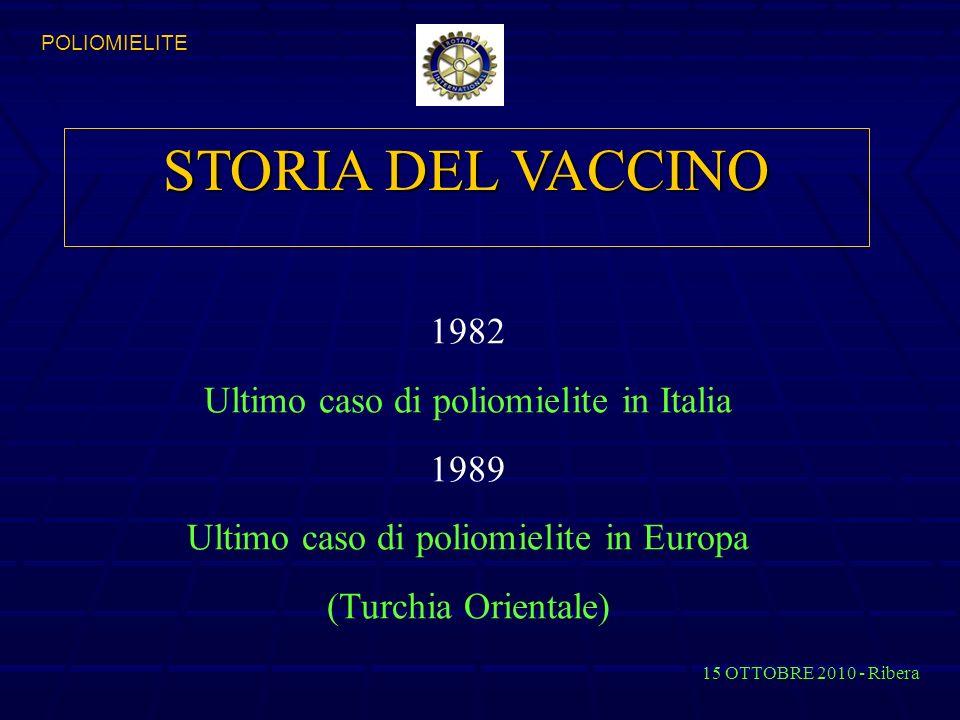 STORIA DEL VACCINO 1982 Ultimo caso di poliomielite in Italia 1989
