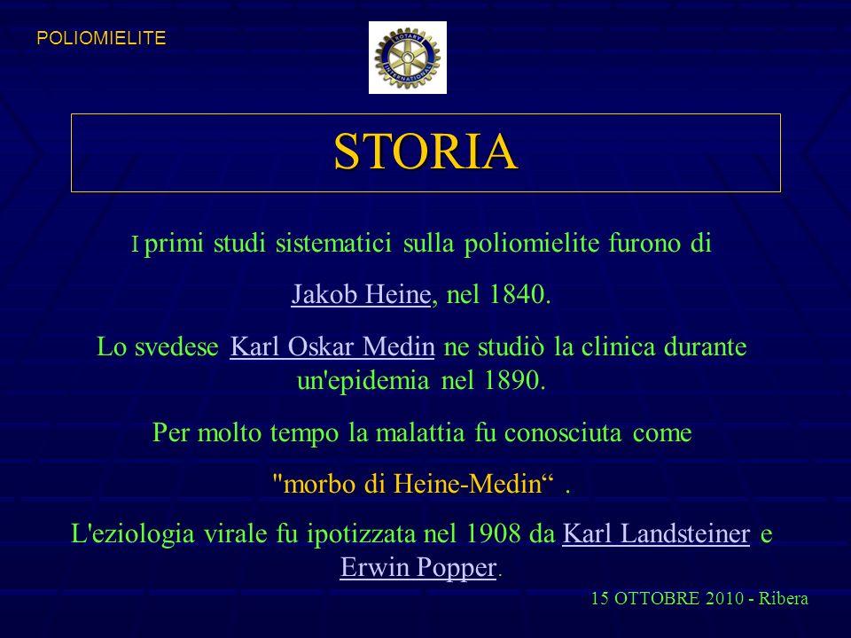 POLIOMIELITE STORIA. I primi studi sistematici sulla poliomielite furono di. Jakob Heine, nel 1840.