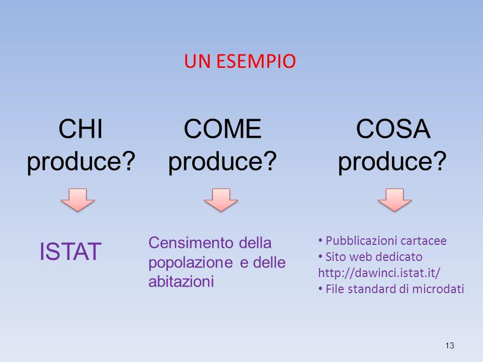 CHI produce COME produce COSA produce ISTAT UN ESEMPIO