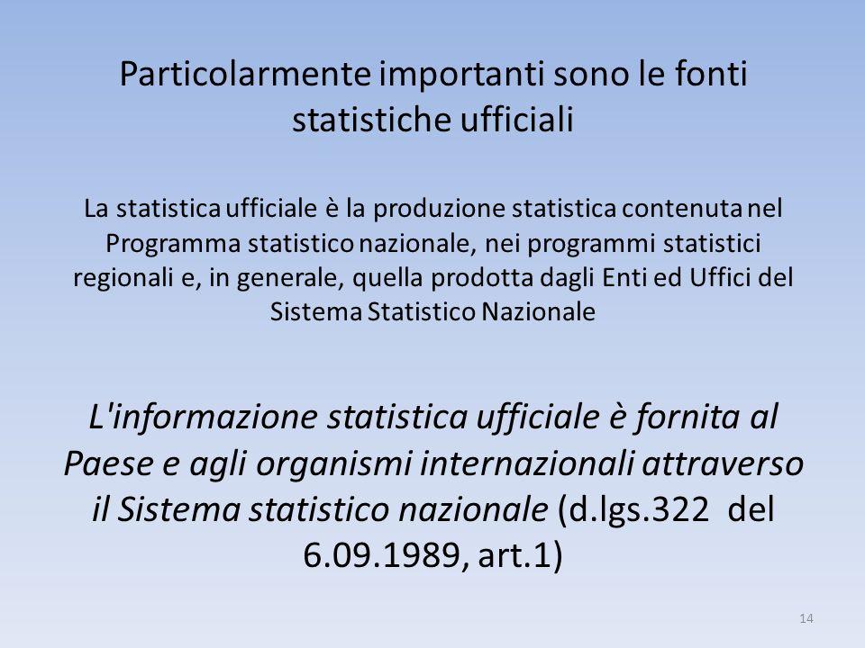 Particolarmente importanti sono le fonti statistiche ufficiali