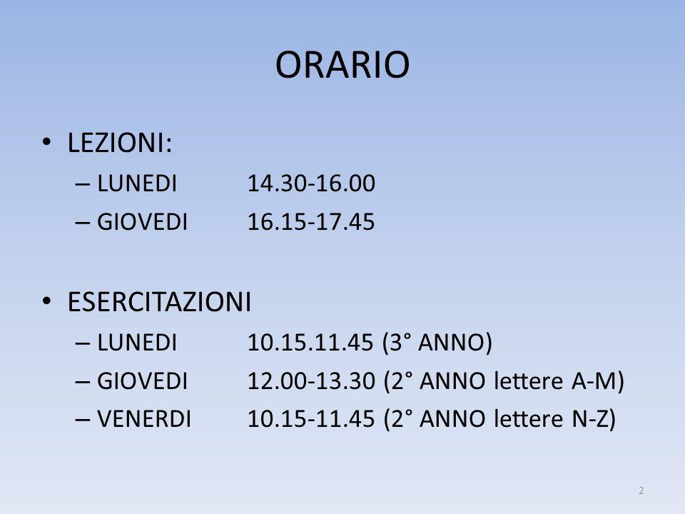 ORARIO LEZIONI: ESERCITAZIONI LUNEDI 14.30-16.00 GIOVEDI 16.15-17.45