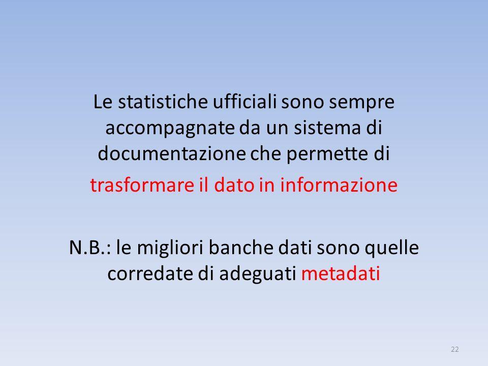 Le statistiche ufficiali sono sempre accompagnate da un sistema di documentazione che permette di trasformare il dato in informazione N.B.: le migliori banche dati sono quelle corredate di adeguati metadati