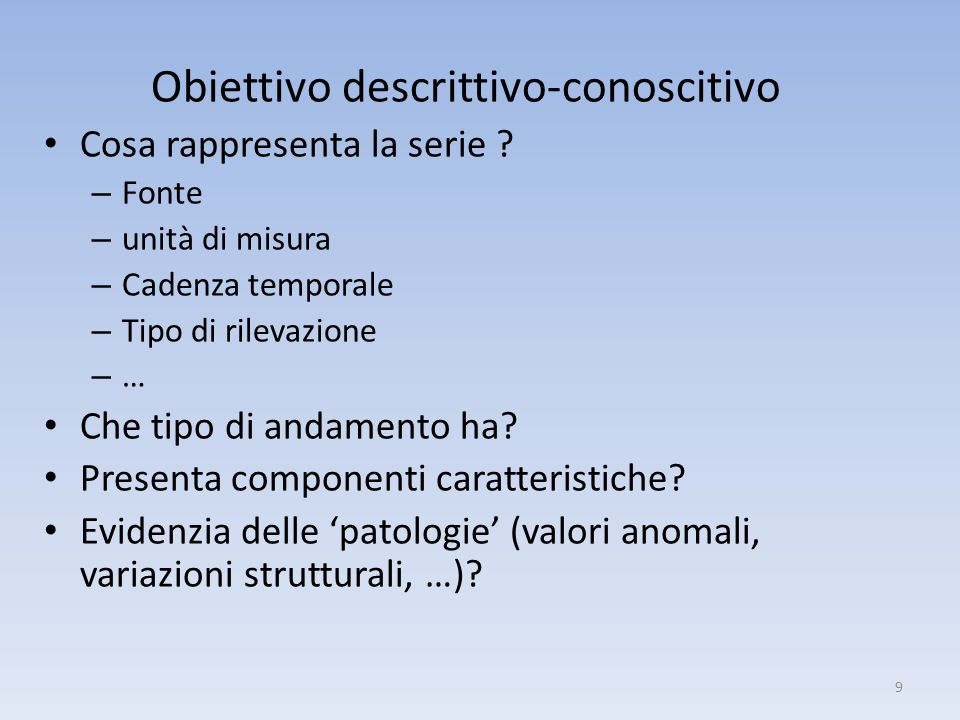 Obiettivo descrittivo-conoscitivo