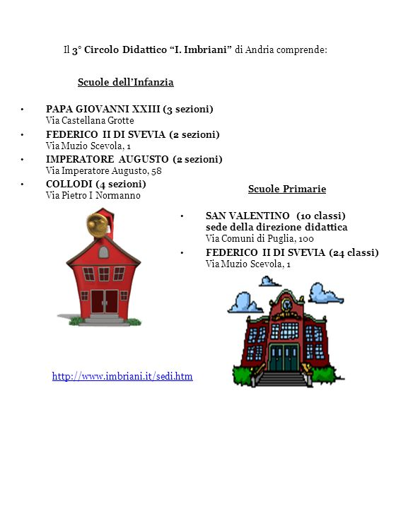 Il 3° Circolo Didattico I. Imbriani di Andria comprende: