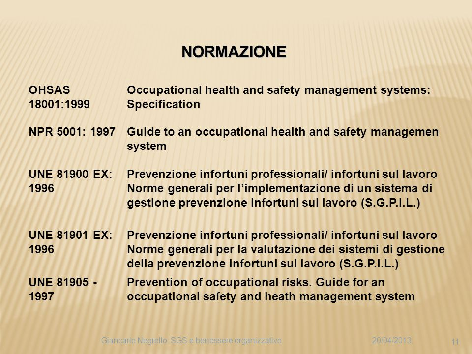 NORMAZIONE OHSAS 18001:1999. Occupational health and safety management systems: Specification. NPR 5001: 1997.