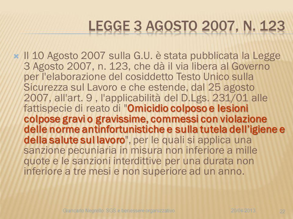 Legge 3 agosto 2007, n. 123