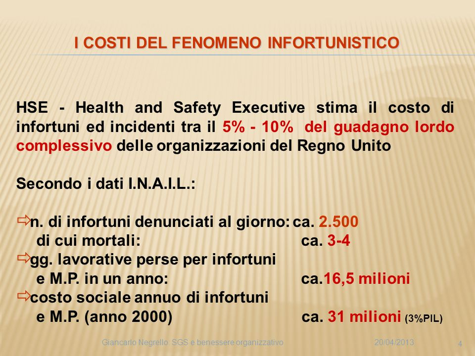 I COSTI DEL FENOMENO INFORTUNISTICO
