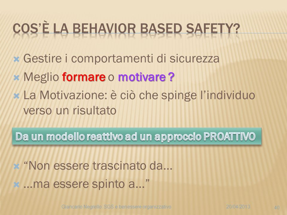 Cos'è la Behavior Based Safety