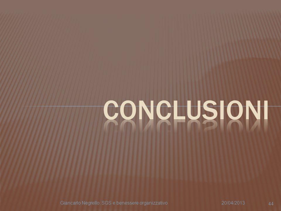CONCLUSIONI Giancarlo Negrello: SGS e benessere organizzativo