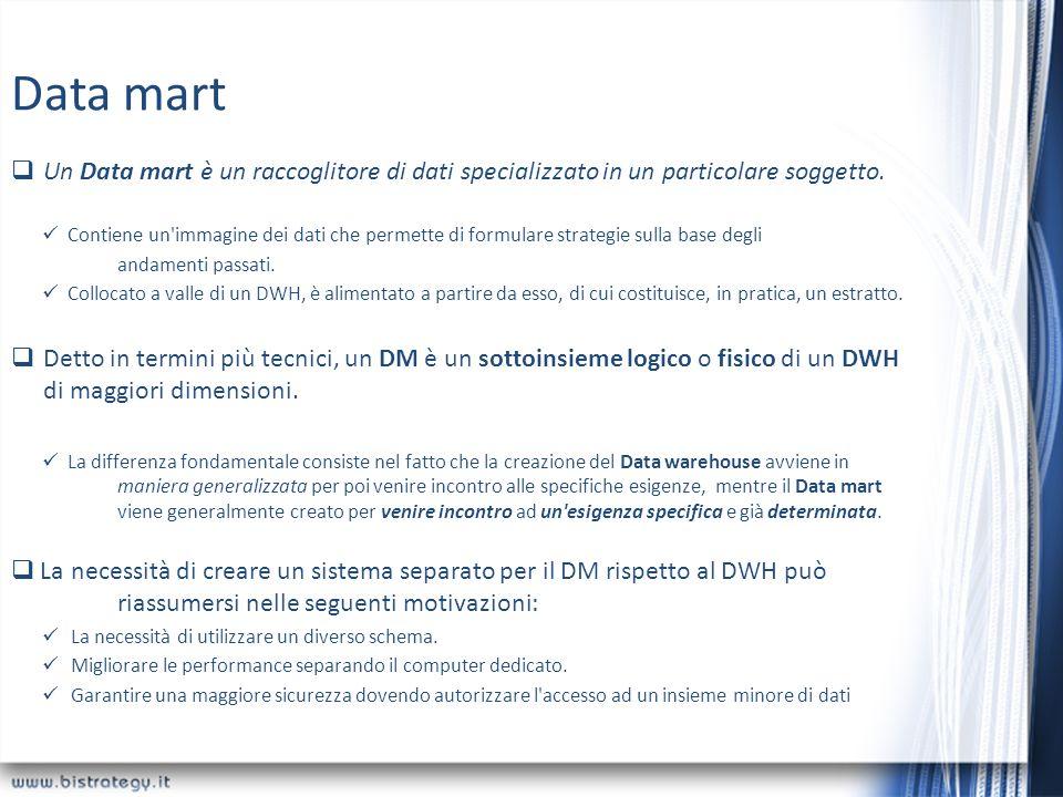 Data mart Un Data mart è un raccoglitore di dati specializzato in un particolare soggetto.