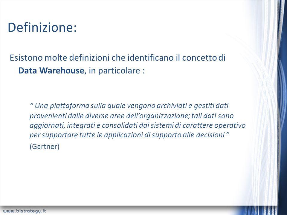 Definizione: Esistono molte definizioni che identificano il concetto di Data Warehouse, in particolare :
