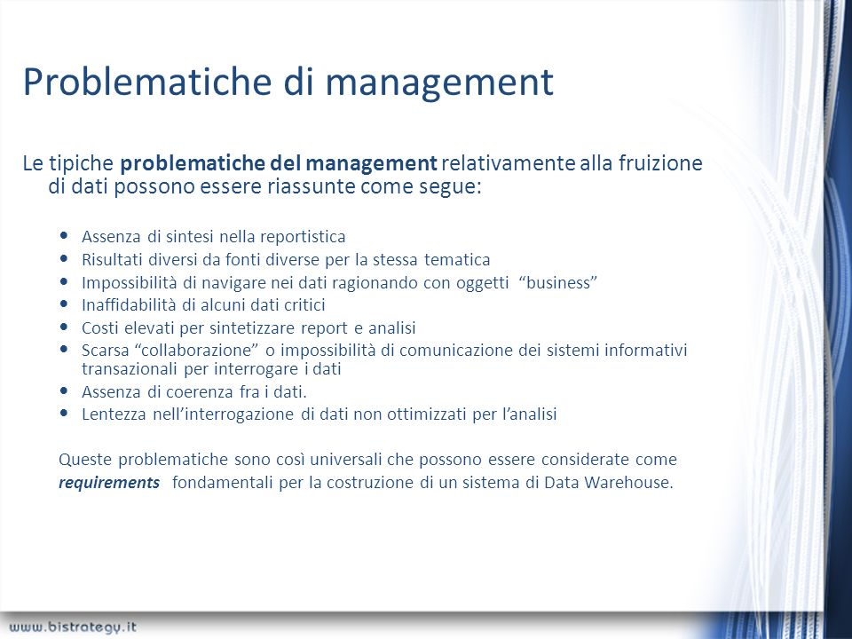 Problematiche di management