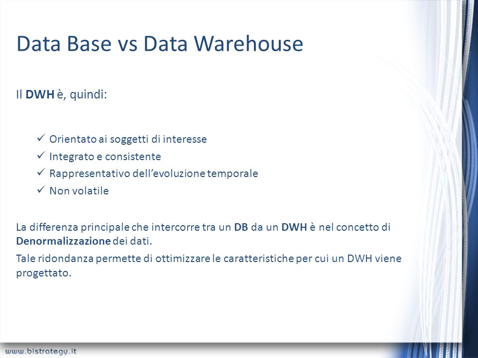 Data Base vs Data Warehouse
