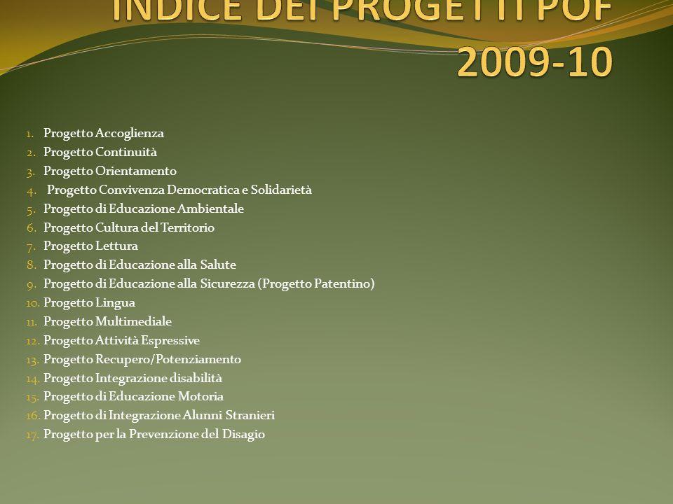INDICE DEI PROGETTI POF 2009-10