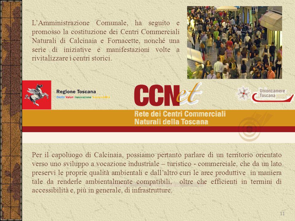 L'Amministrazione Comunale, ha seguito e promosso la costituzione dei Centri Commerciali Naturali di Calcinaia e Fornacette, nonché una serie di iniziative e manifestazioni volte a rivitalizzare i centri storici.