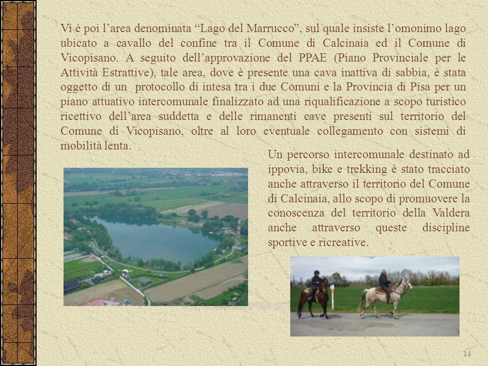 Vi è poi l'area denominata Lago del Marrucco , sul quale insiste l'omonimo lago ubicato a cavallo del confine tra il Comune di Calcinaia ed il Comune di Vicopisano. A seguito dell'approvazione del PPAE (Piano Provinciale per le Attività Estrattive), tale area, dove è presente una cava inattiva di sabbia, è stata oggetto di un protocollo di intesa tra i due Comuni e la Provincia di Pisa per un piano attuativo intercomunale finalizzato ad una riqualificazione a scopo turistico ricettivo dell'area suddetta e delle rimanenti cave presenti sul territorio del Comune di Vicopisano, oltre al loro eventuale collegamento con sistemi di mobilità lenta.