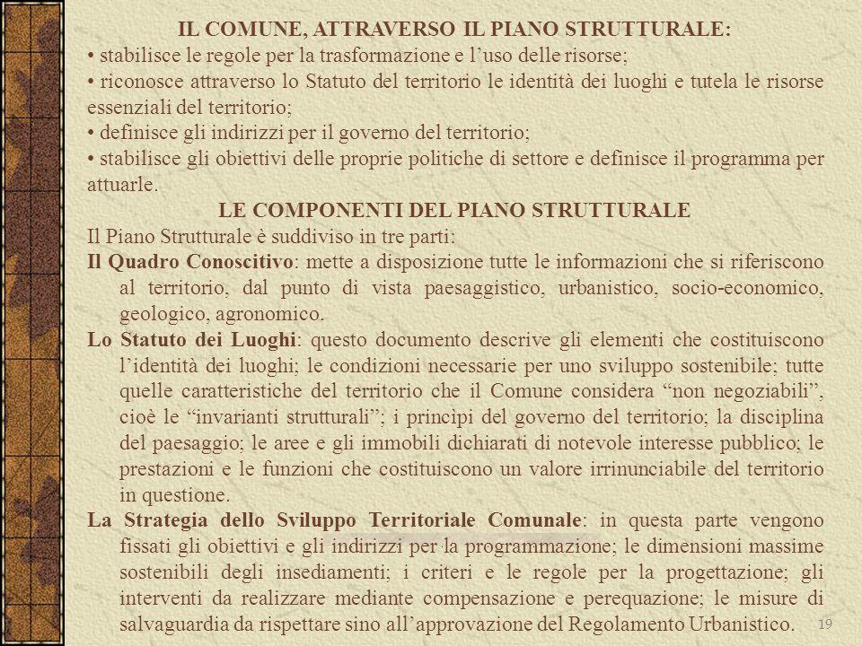 IL COMUNE, ATTRAVERSO IL PIANO STRUTTURALE: