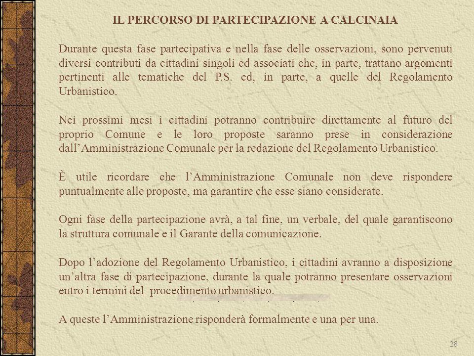 IL PERCORSO DI PARTECIPAZIONE A CALCINAIA
