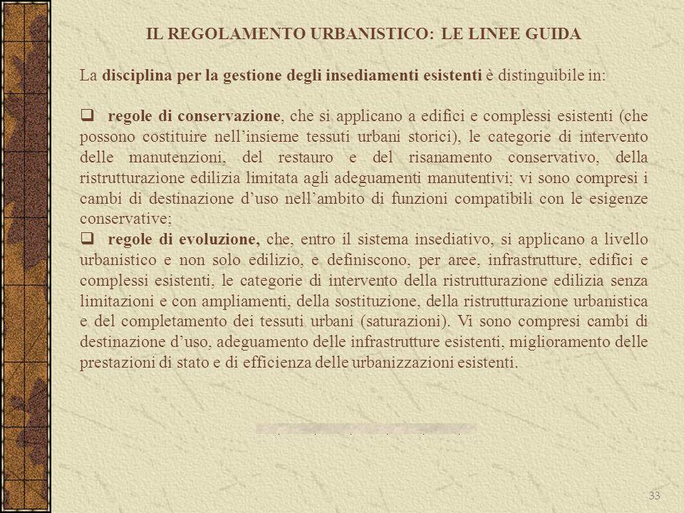 IL REGOLAMENTO URBANISTICO: LE LINEE GUIDA