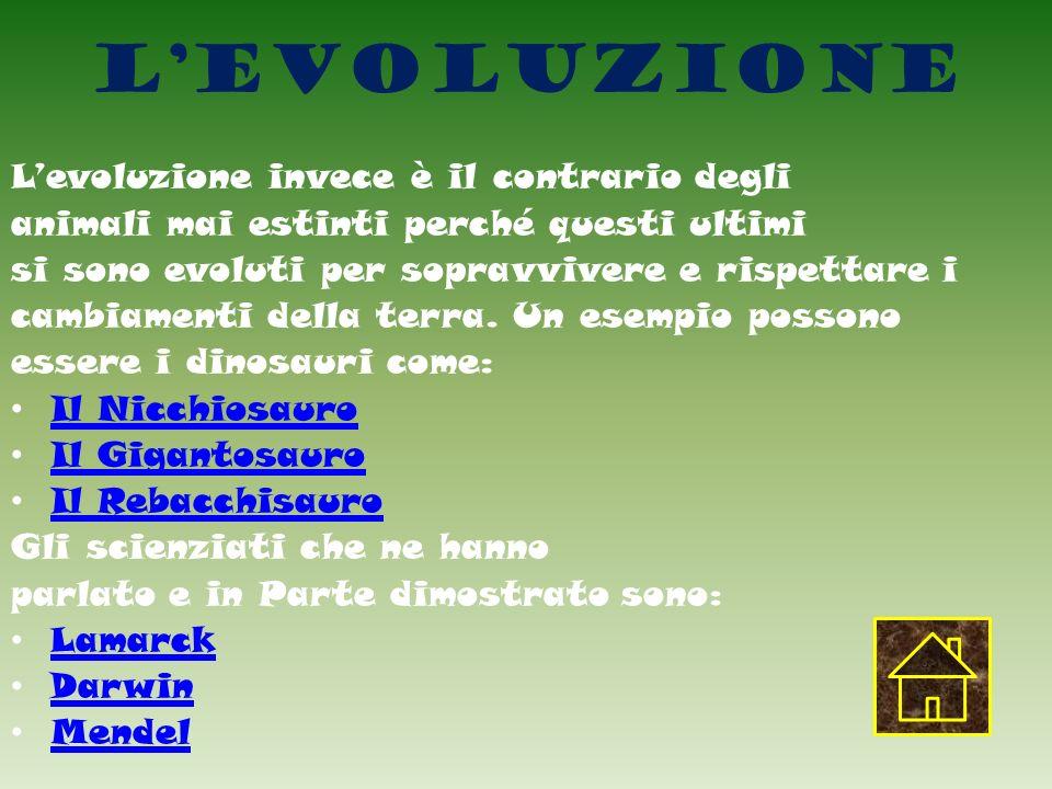 L'evoluzione L'evoluzione invece è il contrario degli