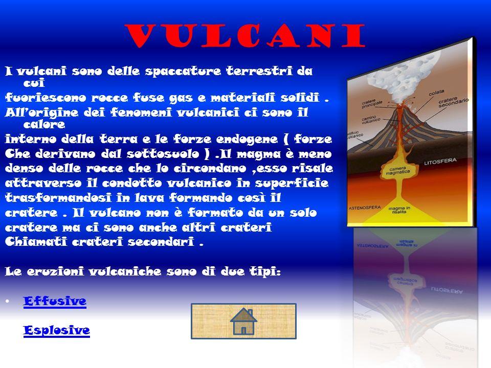 Vulcani I vulcani sono delle spaccature terrestri da cui