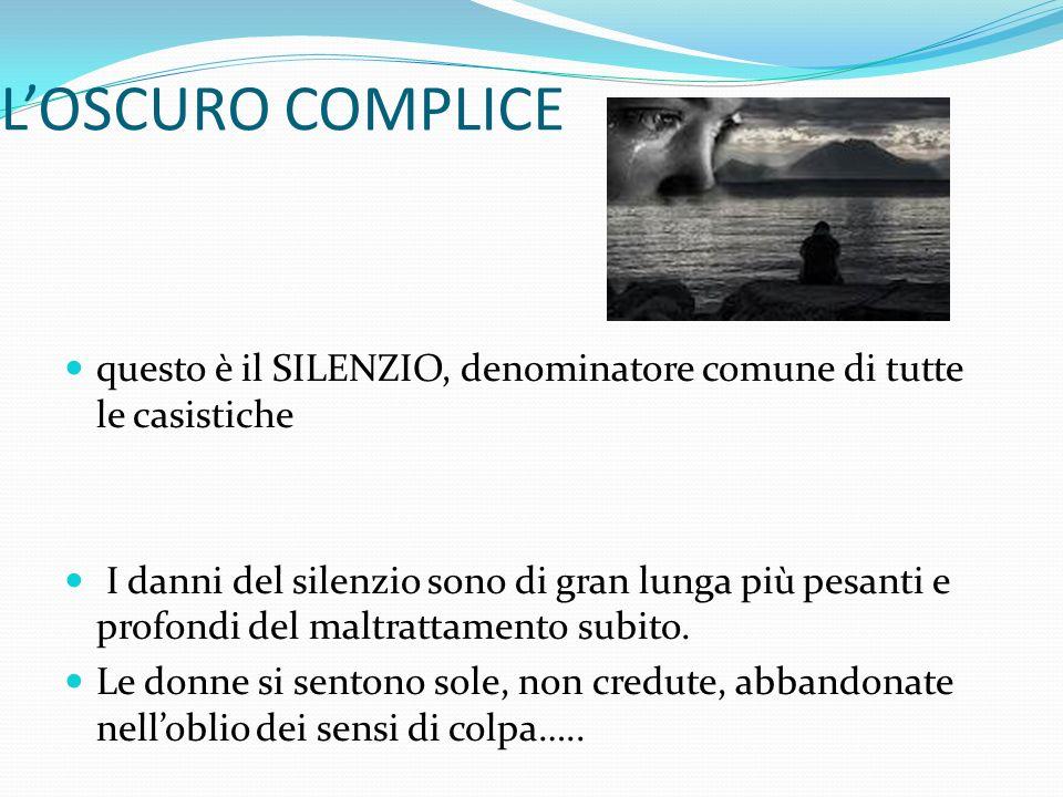 L'OSCURO COMPLICE questo è il SILENZIO, denominatore comune di tutte le casistiche.