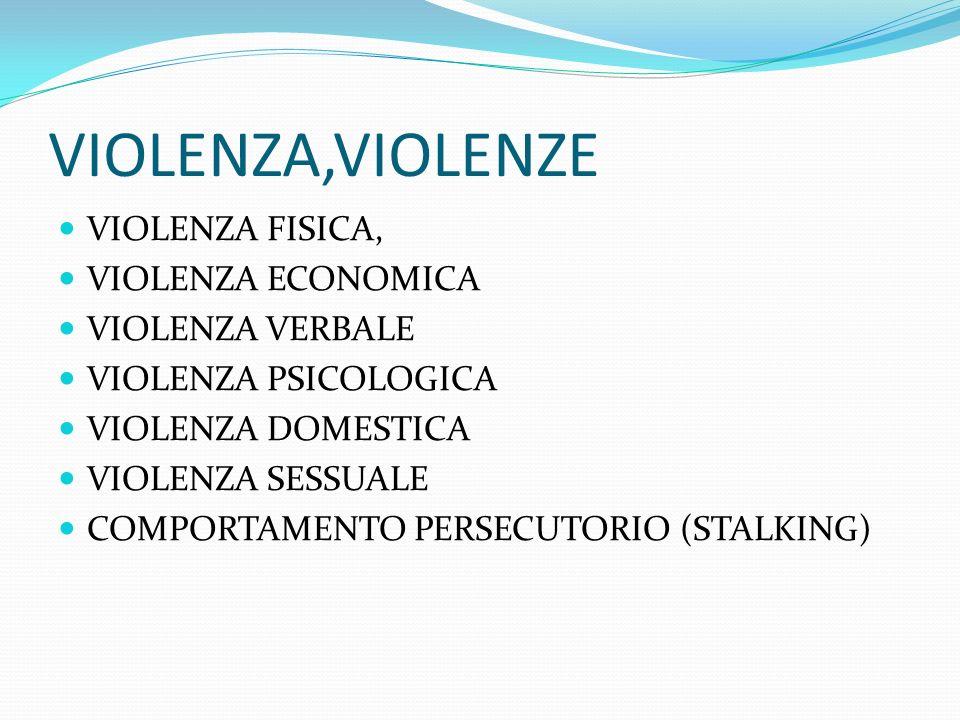 VIOLENZA,VIOLENZE VIOLENZA FISICA, VIOLENZA ECONOMICA VIOLENZA VERBALE