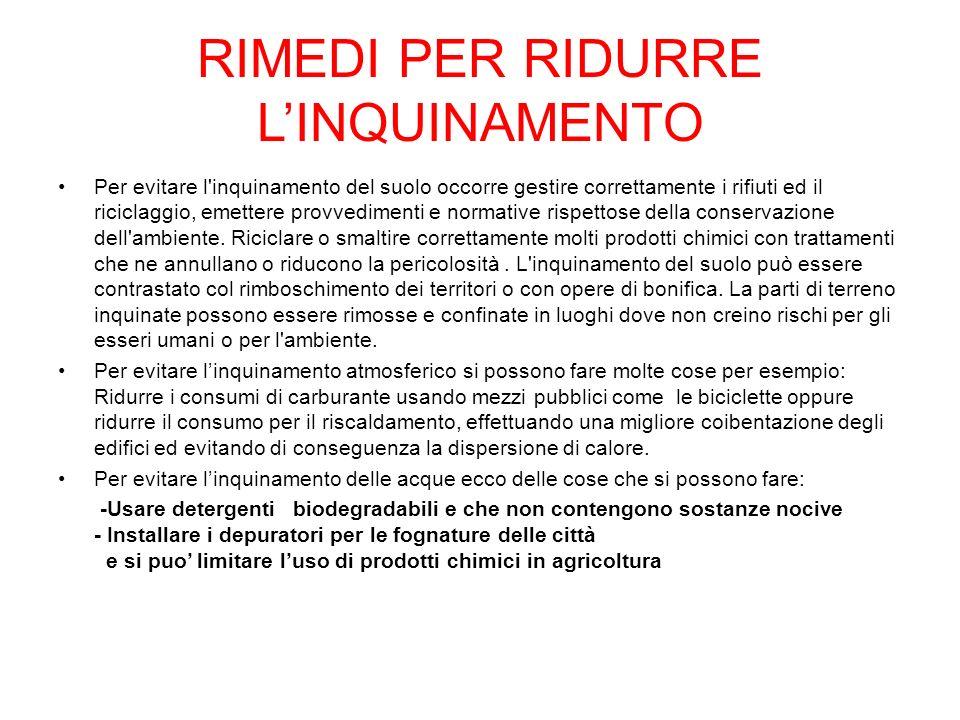 RIMEDI PER RIDURRE L'INQUINAMENTO