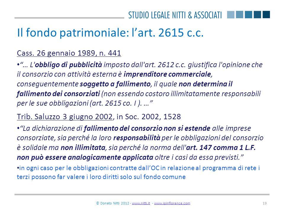Il fondo patrimoniale: l'art. 2615 c.c.