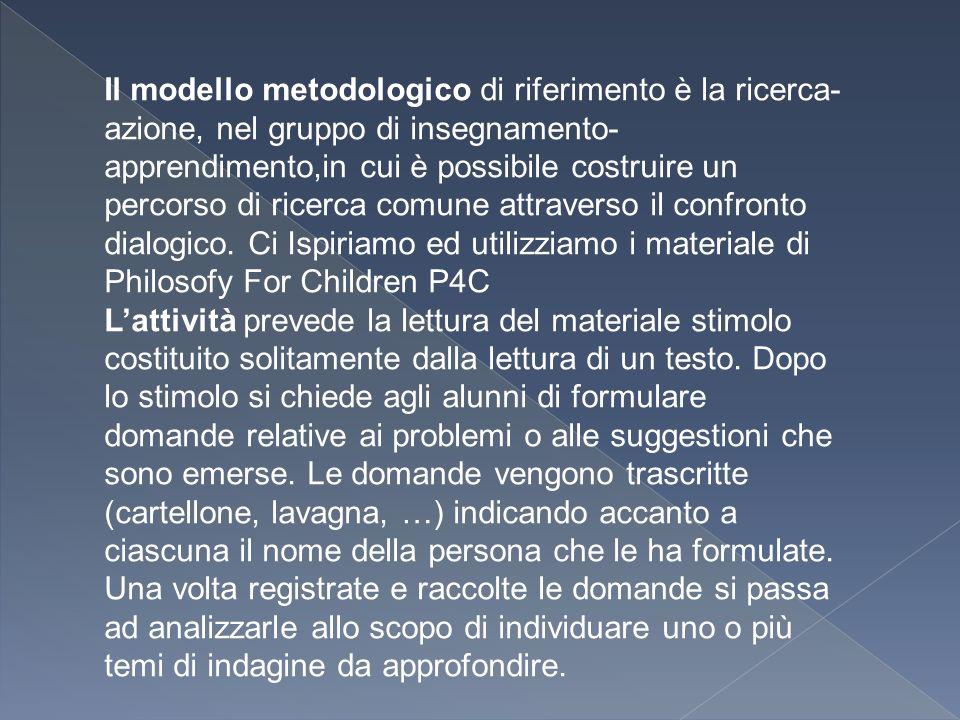 Il modello metodologico di riferimento è la ricerca-azione, nel gruppo di insegnamento- apprendimento,in cui è possibile costruire un percorso di ricerca comune attraverso il confronto dialogico. Ci Ispiriamo ed utilizziamo i materiale di Philosofy For Children P4C