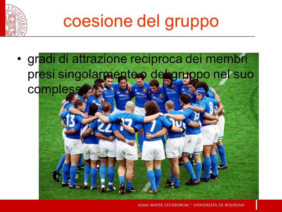 coesione del gruppogradi di attrazione reciproca dei membri presi singolarmente o del gruppo nel suo complesso.