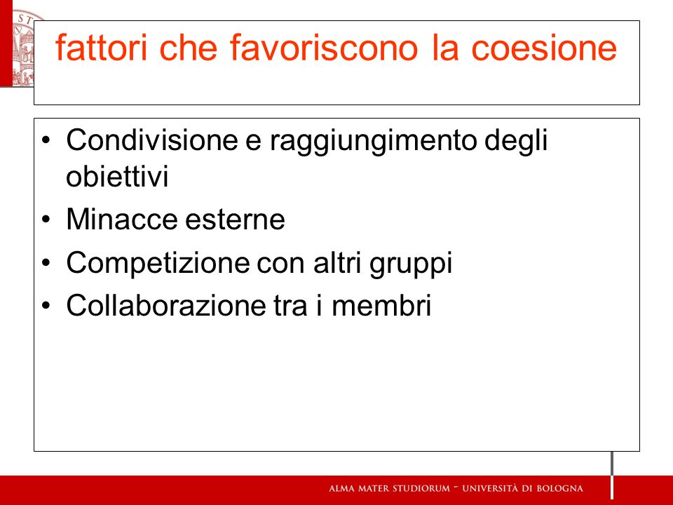 fattori che favoriscono la coesione