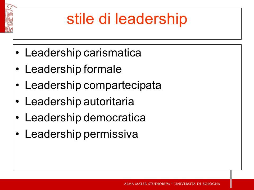 stile di leadership Leadership carismatica Leadership formale