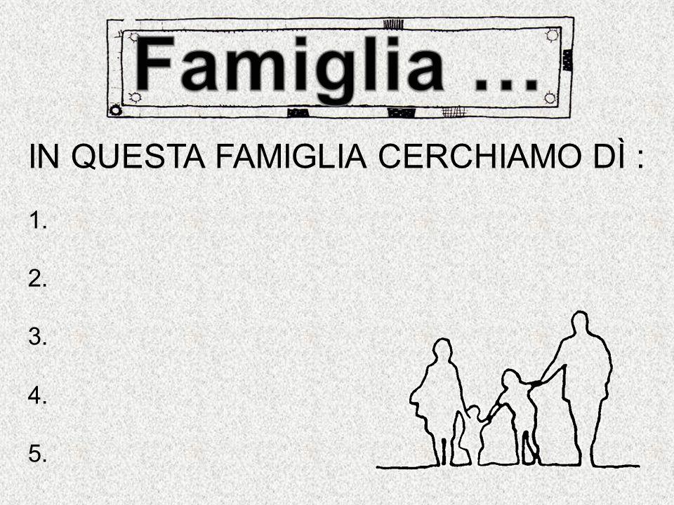 Famiglia … IN QUESTA FAMIGLIA CERCHIAMO DÌ : 1. 2. 3. 4. 5.