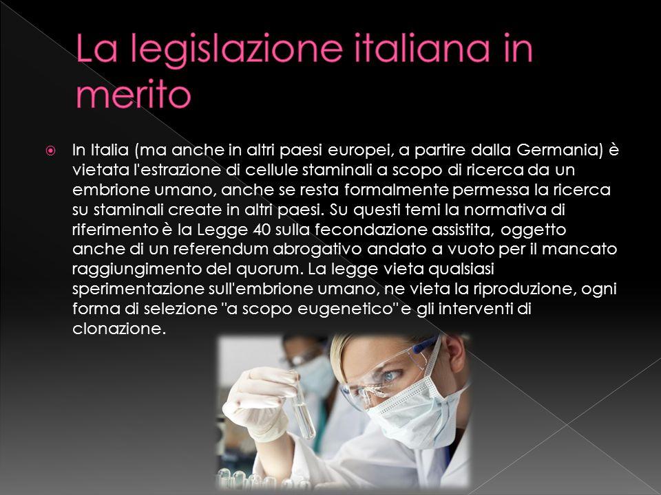 La legislazione italiana in merito
