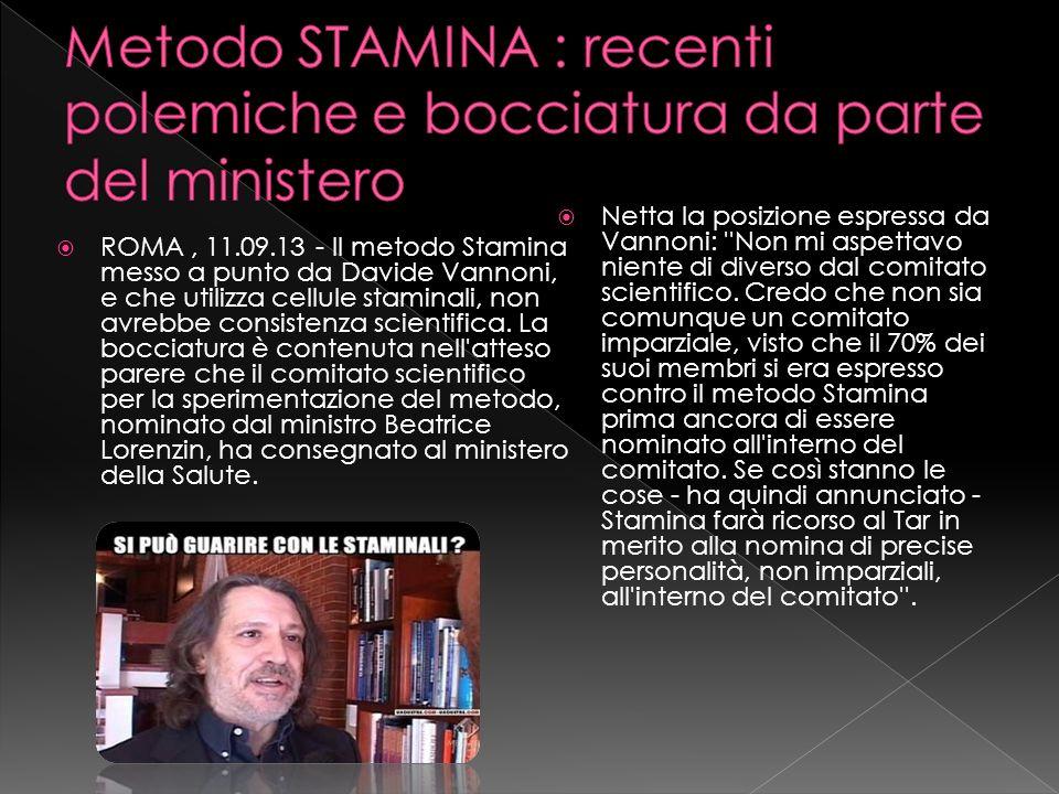 Metodo STAMINA : recenti polemiche e bocciatura da parte del ministero