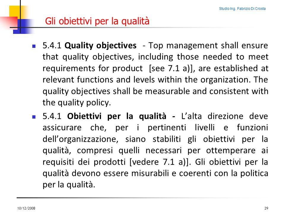Gli obiettivi per la qualità