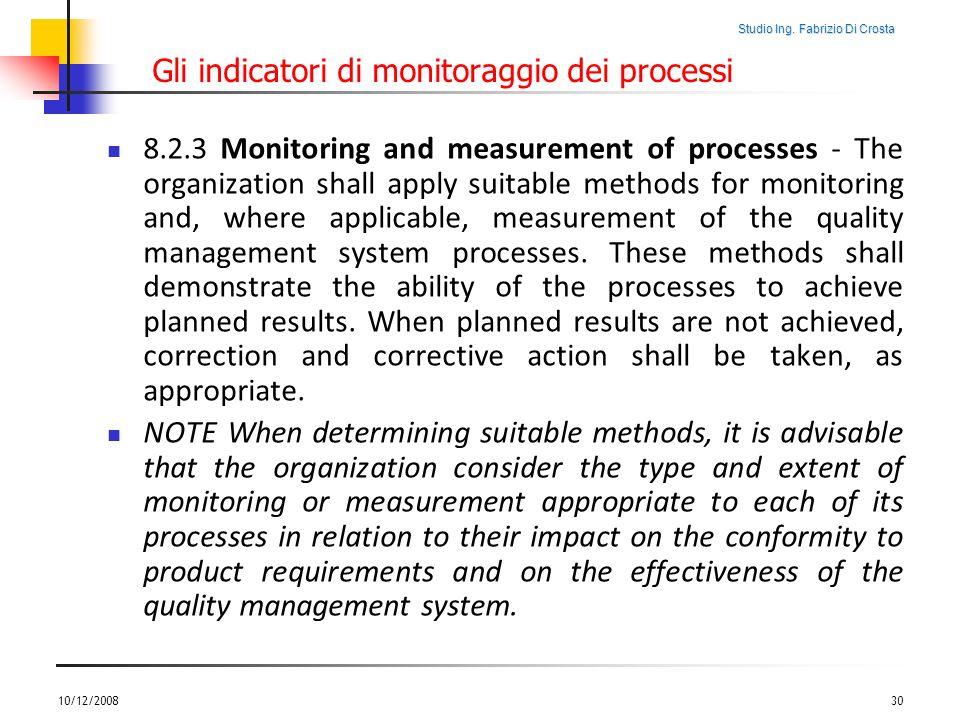 Gli indicatori di monitoraggio dei processi