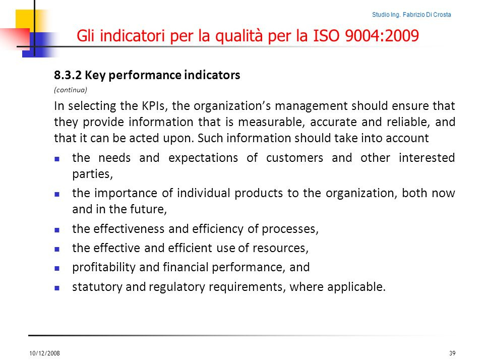 Gli indicatori per la qualità per la ISO 9004:2009