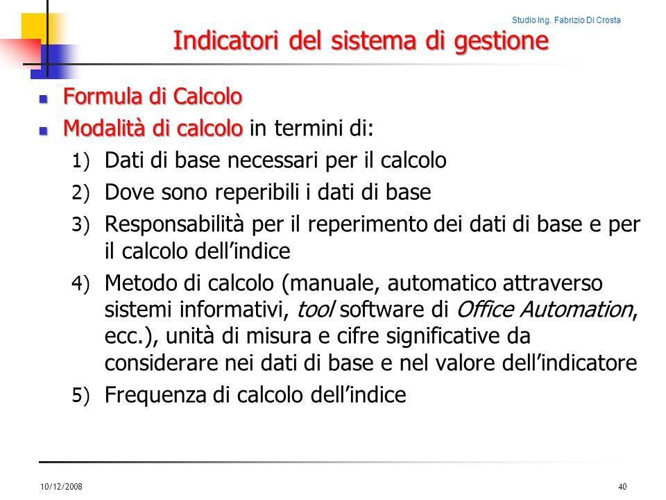 Indicatori del sistema di gestione