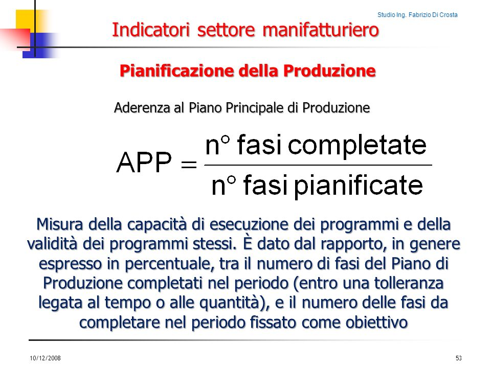 Indicatori settore manifatturiero