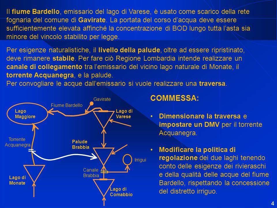 Il fiume Bardello, emissario del lago di Varese, è usato come scarico della rete fognaria del comune di Gavirate. La portata del corso d'acqua deve essere sufficientemente elevata affinché la concentrazione di BOD lungo tutta l'asta sia minore del vincolo stabilito per legge.