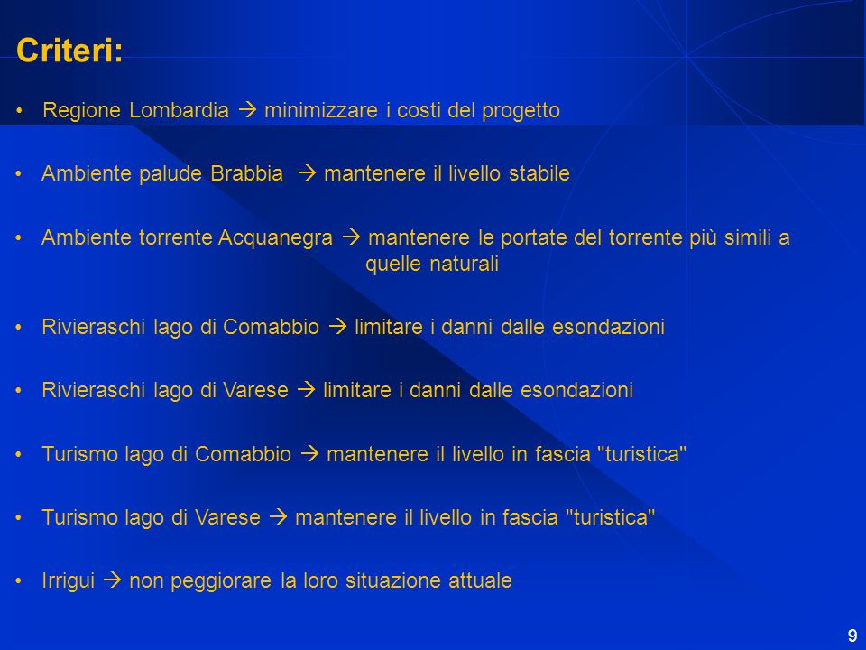 Criteri: Regione Lombardia  minimizzare i costi del progetto