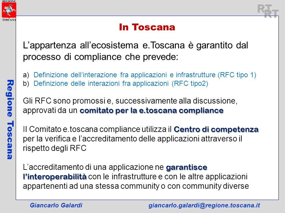 RT RT. In Toscana. L'appartenza all'ecosistema e.Toscana è garantito dal processo di compliance che prevede: