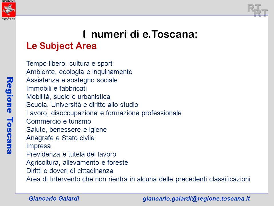RT RT I numeri di e.Toscana: Le Subject Area Regione Toscana