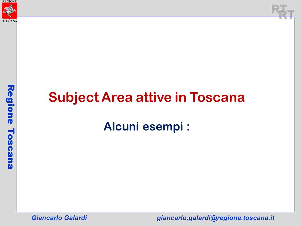 Subject Area attive in Toscana