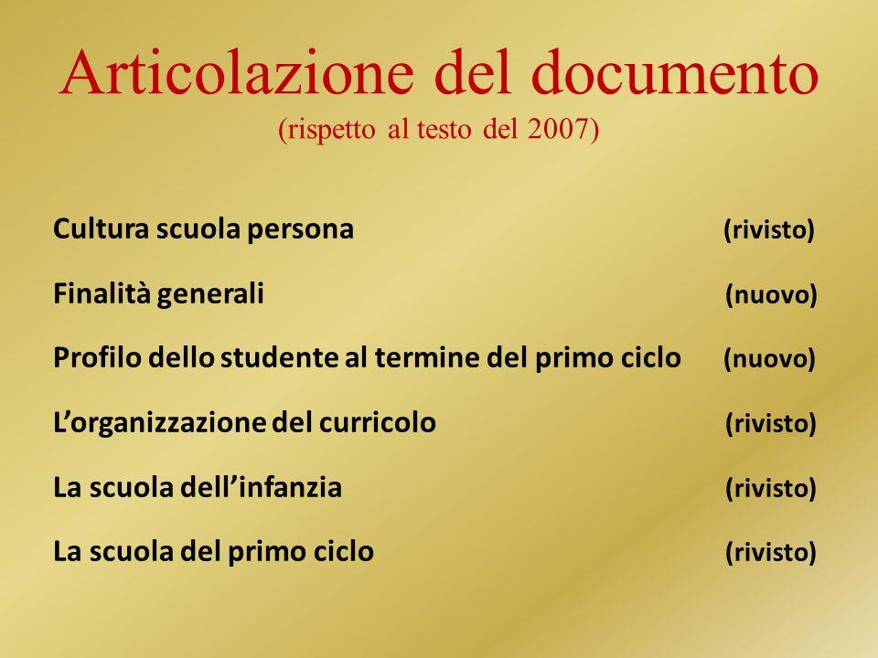 Articolazione del documento (rispetto al testo del 2007)