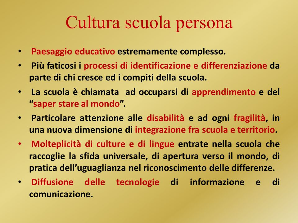 Cultura scuola persona