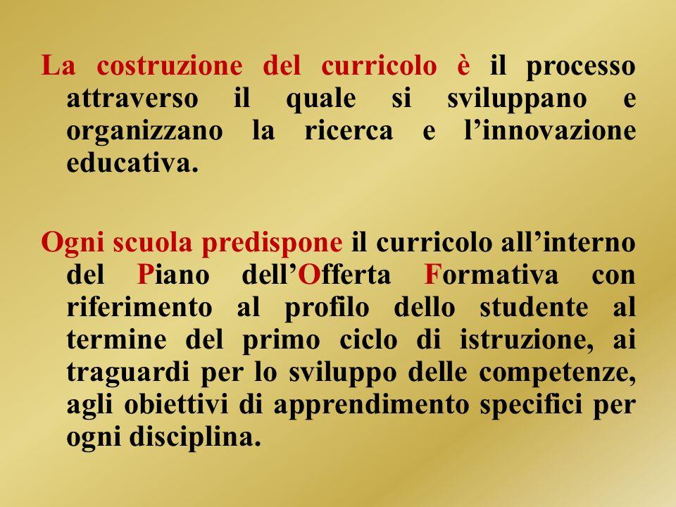 La costruzione del curricolo è il processo attraverso il quale si sviluppano e organizzano la ricerca e l'innovazione educativa.
