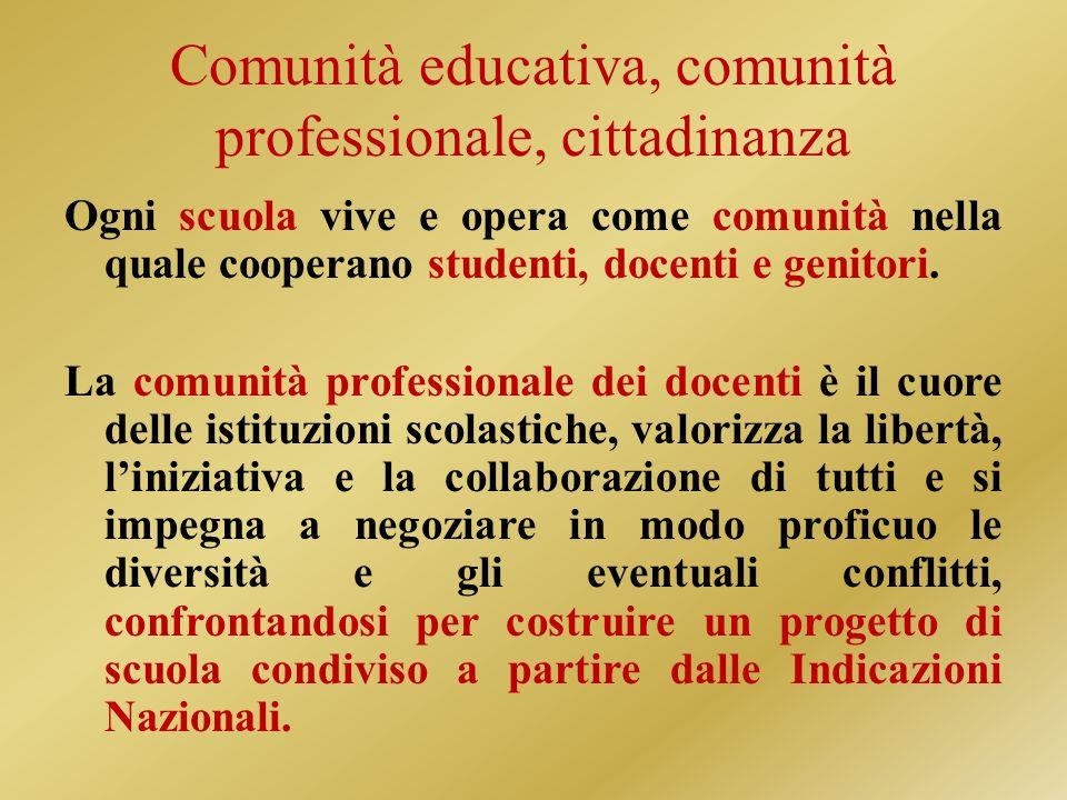 Comunità educativa, comunità professionale, cittadinanza
